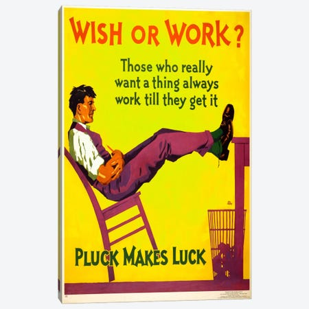 Wish or work? Canvas Print #PCA137} by Print Collection Canvas Wall Art