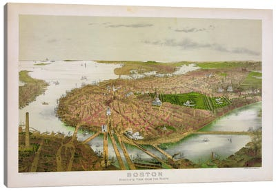 Boston From the Air, 1877 Canvas Art Print