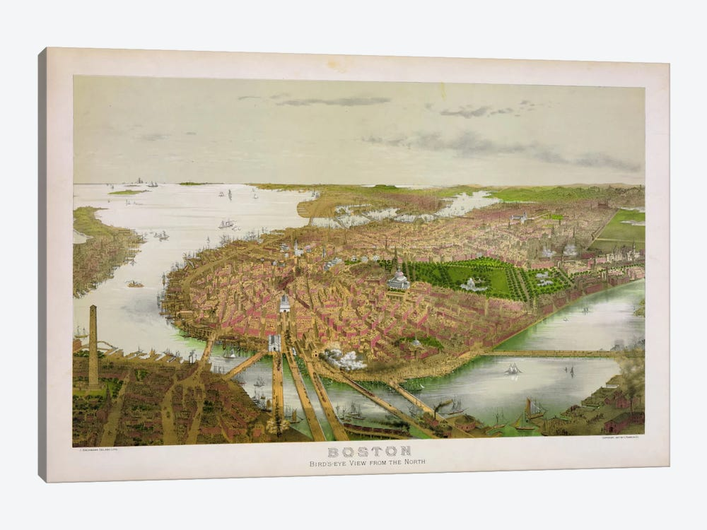 Boston From the Air, 1877 by Print Collection 1-piece Canvas Artwork