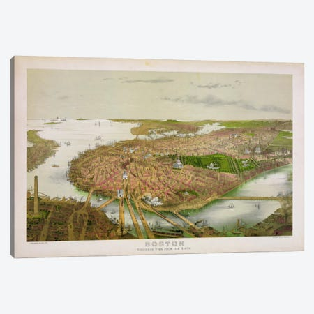 Boston From the Air, 1877 3-Piece Canvas #PCA144} by Print Collection Canvas Art Print
