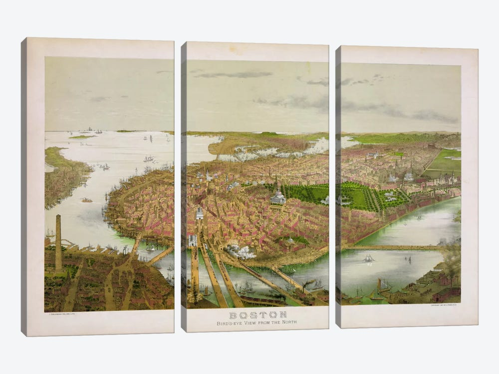 Boston From the Air, 1877 by Print Collection 3-piece Canvas Wall Art
