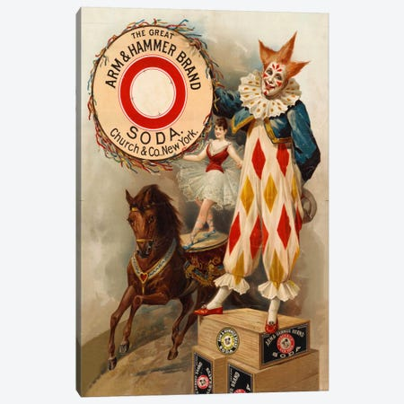 Clown, Horse, Acrobat and Arm & Hammer Brand Soda Canvas Print #PCA311} by Print Collection Art Print