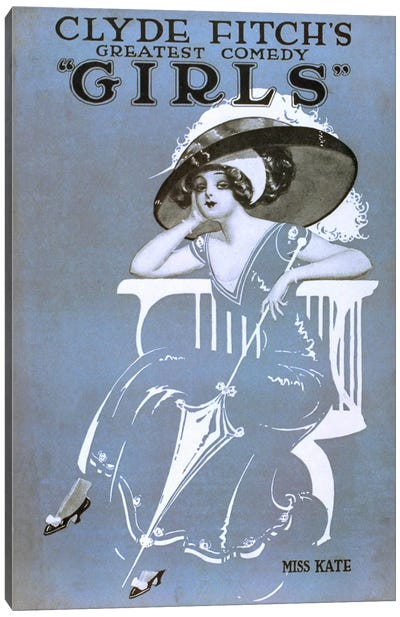 """Clyde Fitch's Greatest Comedy, """"Girls"""" Miss Kate Canvas Art Print"""