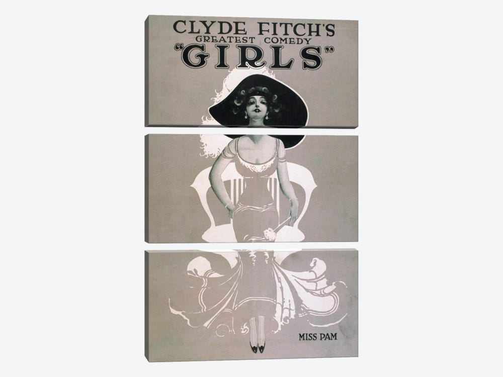 "Clyde Fitch's Greatest Comedy, ""Girls"" Miss Pam by Print Collection 3-piece Canvas Print"