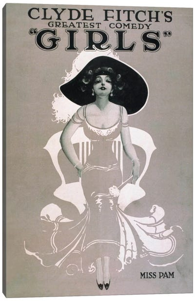 """Clyde Fitch's Greatest Comedy, """"Girls"""" Miss Pam Canvas Art Print"""
