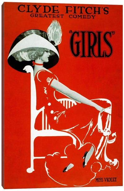 """Clyde Fitch's Greatest Comedy, """"Girls"""" Canvas Art Print"""