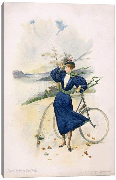 Cycling, Riverside Drive, New York Canvas Print #PCA321