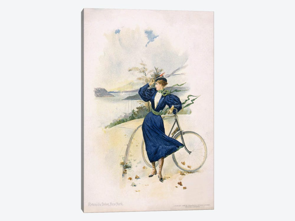 Cycling, Riverside Drive, New York by Print Collection 1-piece Canvas Art