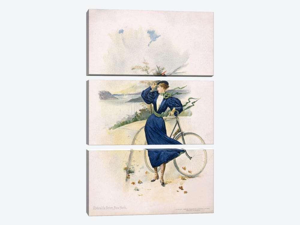 Cycling, Riverside Drive, New York by Print Collection 3-piece Canvas Wall Art