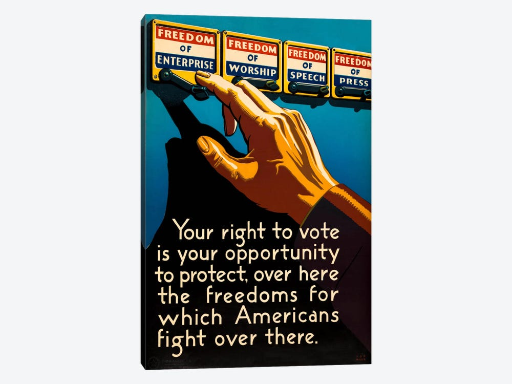 Don't Forget to Vote Today by Print Collection 1-piece Canvas Art Print