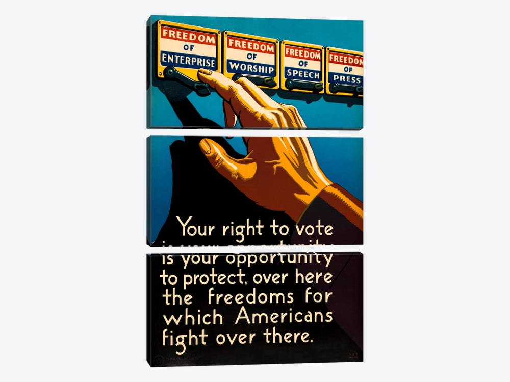 Don't Forget to Vote Today by Print Collection 3-piece Canvas Print