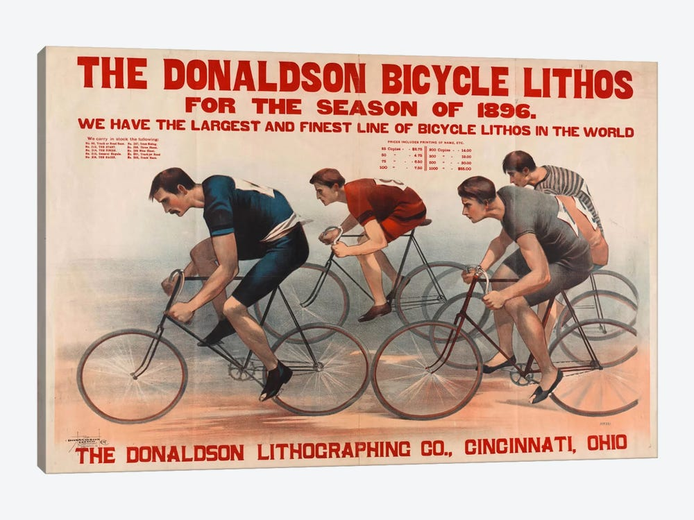 Donaldson Bicycle Lithos for 1896 Season by Print Collection 1-piece Canvas Wall Art