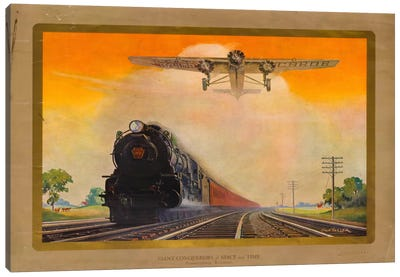 Giant Conquerers of Space and Time Pennsylvania Railroad Canvas Art Print