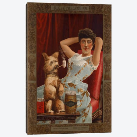 Globe Tobacco Co. Goes to the Dogs Canvas Print #PCA336} by Print Collection Canvas Wall Art