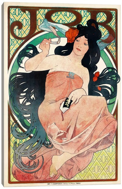 Job Papers by Mucha Canvas Art Print