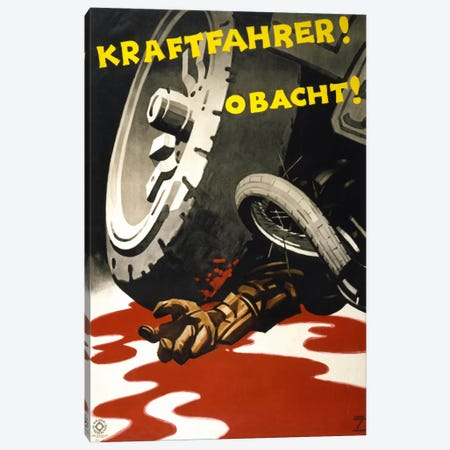 Kraftfahrer! Obacht! Canvas Print #PCA349} by Print Collection Canvas Artwork