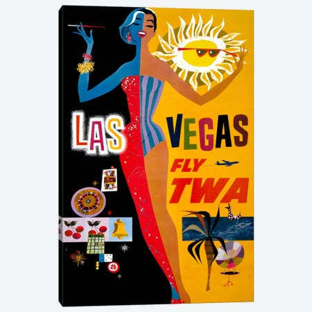 Las Vegas, Fly TWA Canvas Print #PCA351} by Print Collection Art Print