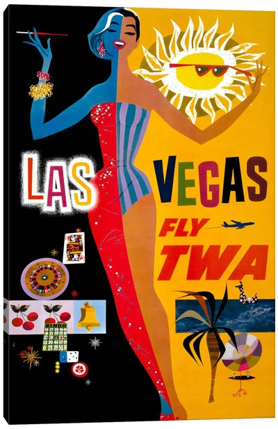 Las Vegas, Fly TWA Canvas Art Print