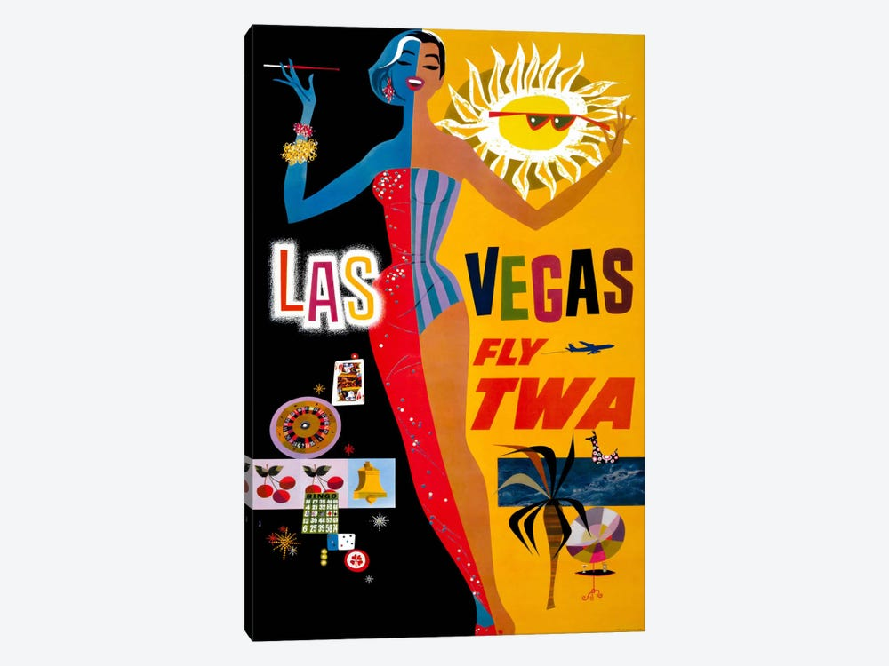 Las Vegas, Fly TWA 1-piece Canvas Print