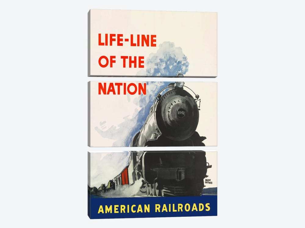 Life-line of the Nation American Railroads by Print Collection 3-piece Canvas Artwork