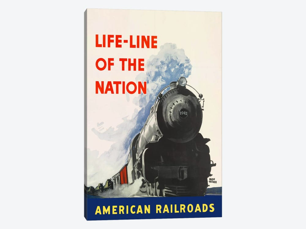 Life-line of the Nation American Railroads by Print Collection 1-piece Canvas Art