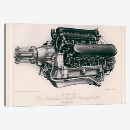 Napier Lion Engine 3-Piece Canvas #PCA361} by Print Collection Canvas Wall Art