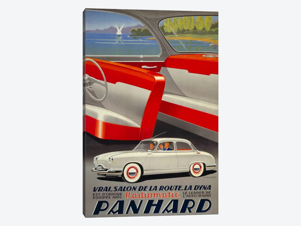Panhard Automobiler by Mediterranean Beach by Print Collection 1-piece Canvas Print