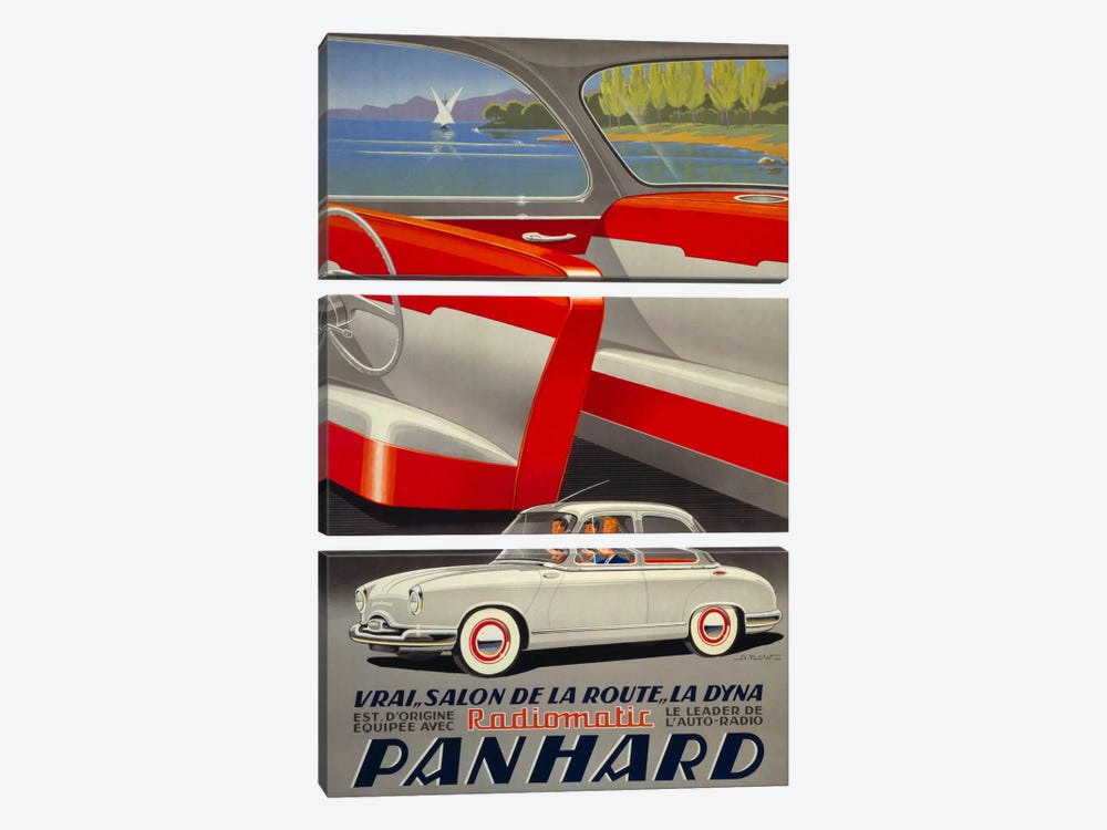 Panhard Automobiler by Mediterranean Beach by Print Collection 3-piece Canvas Print