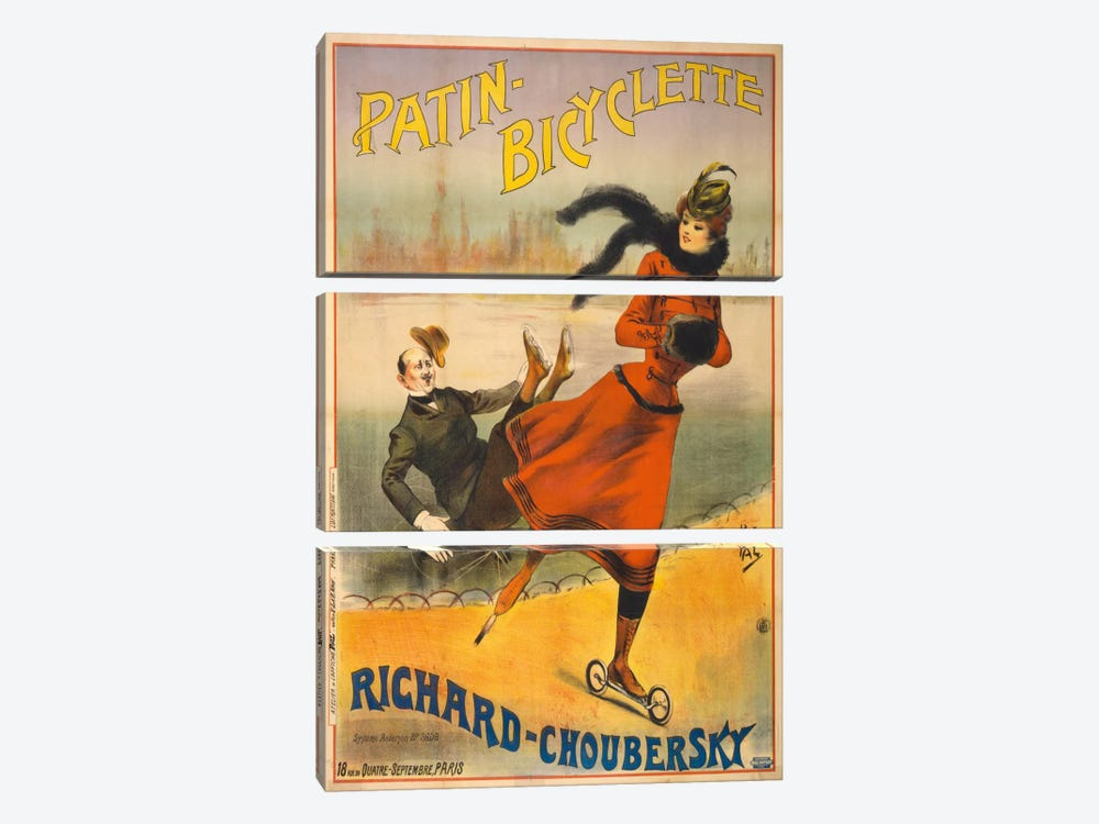 Patin-Bicyclette - Richard-Choubersky by Print Collection 3-piece Canvas Wall Art