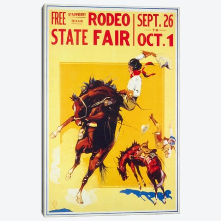 Rodeo State Fair Roan, Two Cowgirls Canvas Print #PCA374} by Print Collection Canvas Wall Art