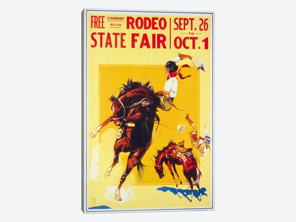 Rodeo State Fair Roan, Two Cowgirls 1-piece Canvas Artwork
