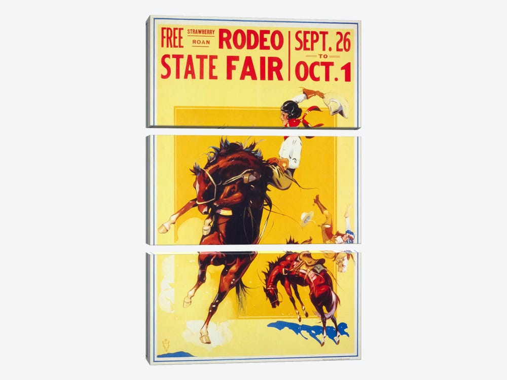 Rodeo State Fair Roan, Two Cowgirls by Print Collection 3-piece Canvas Artwork