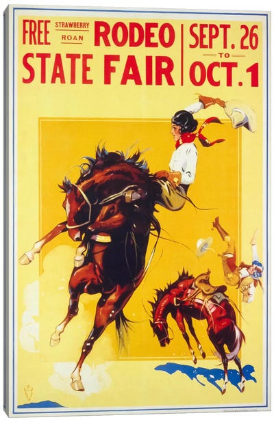 Rodeo State Fair Roan, Two Cowgirls Canvas Art Print