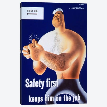Safety First Keeps Him on the Job Canvas Print #PCA377} by Print Collection Canvas Art