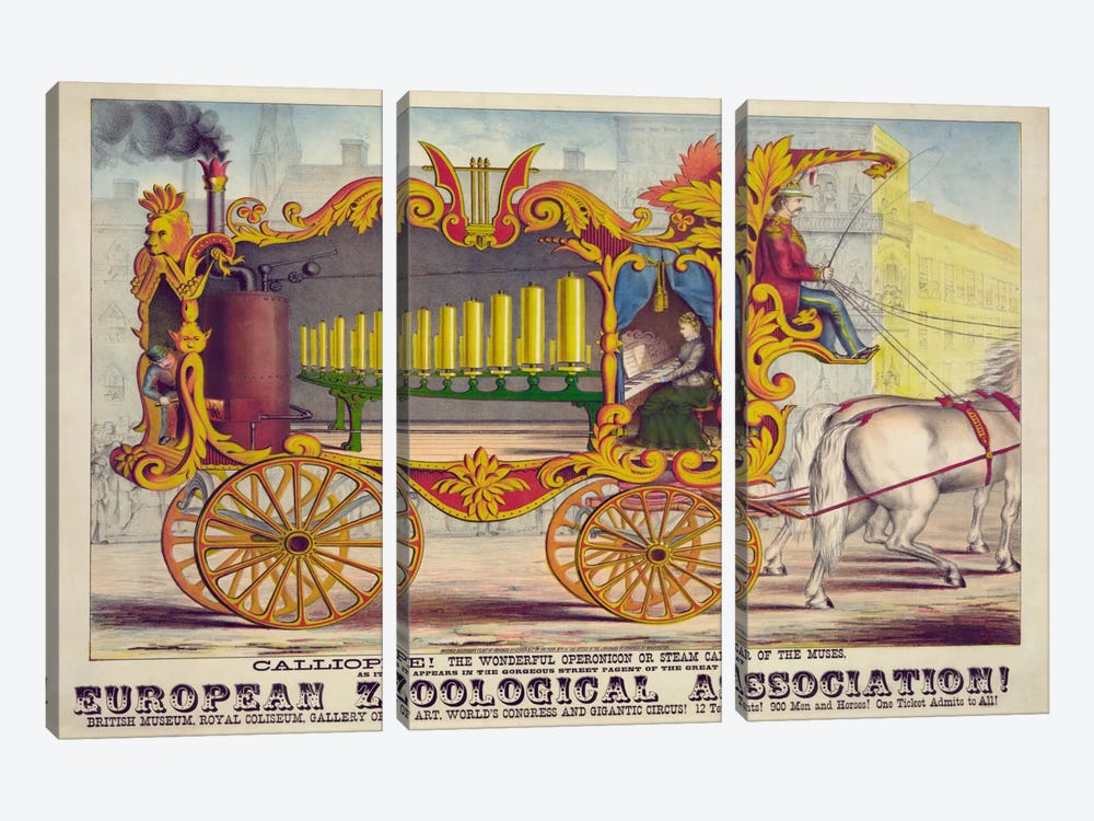 Steam Car of the Muses by Print Collection 3-piece Canvas Print