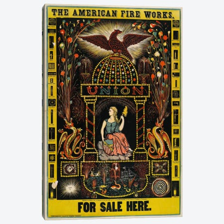 The American Fire Works, For Sale Here Canvas Print #PCA383} by Print Collection Canvas Art