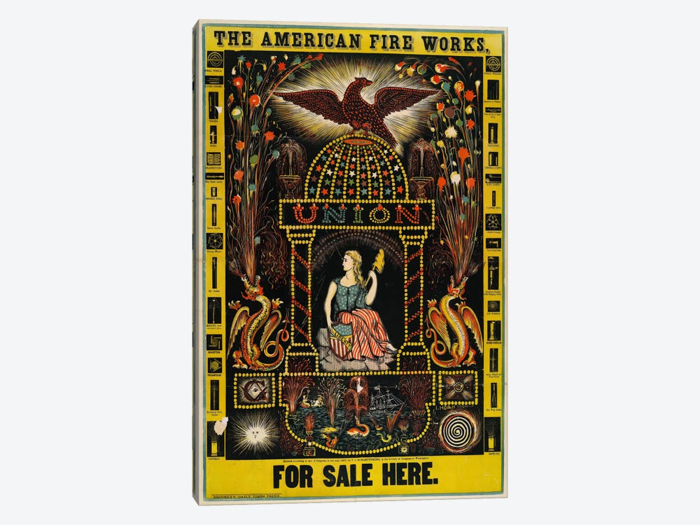 The American Fire Works, For Sale Here by Print Collection 1-piece Canvas Wall Art