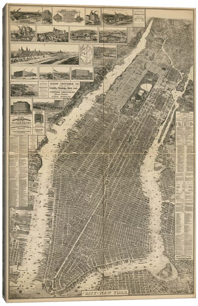 The City of New York Map, 1879 Canvas Print #PCA385