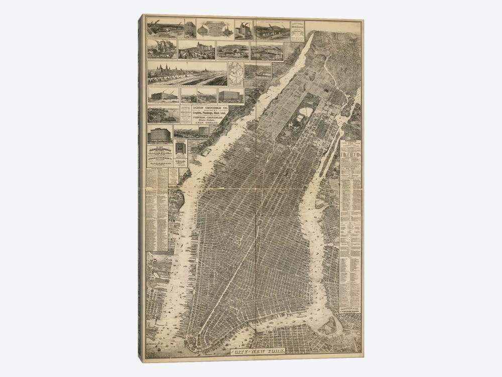 The City of New York Map, 1879 by Print Collection 1-piece Canvas Wall Art