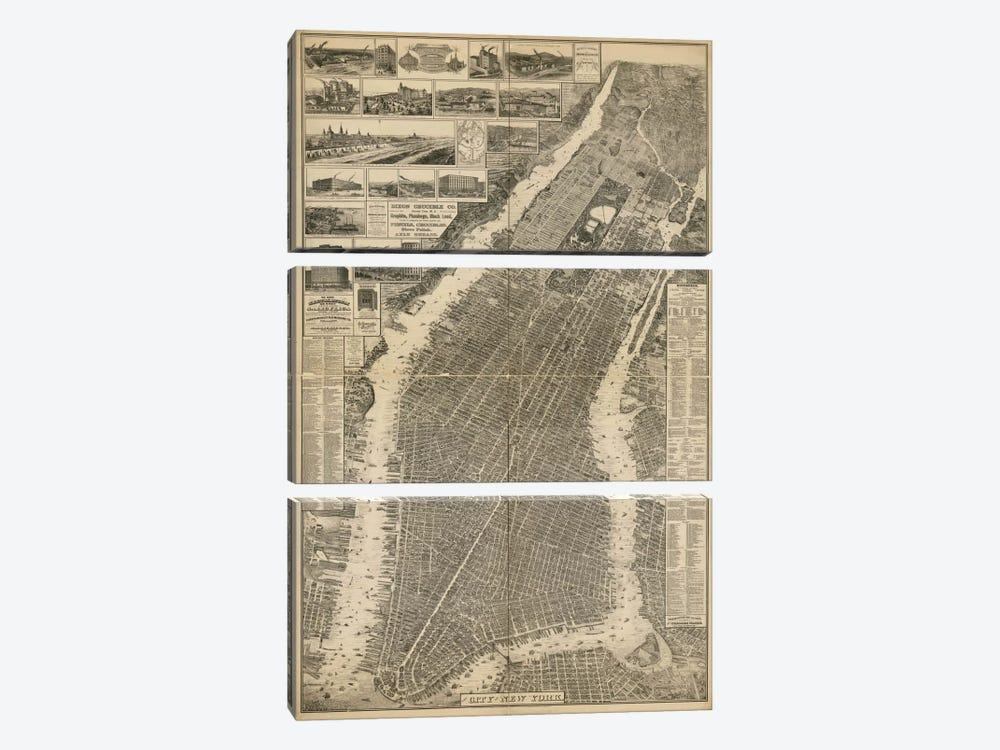 The City of New York Map, 1879 by Print Collection 3-piece Canvas Wall Art