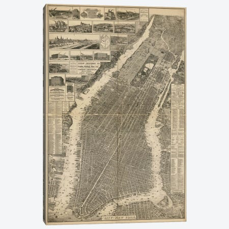 The City of New York Map, 1879 3-Piece Canvas #PCA385} by Print Collection Canvas Art Print