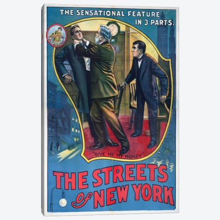 The Streets of New York Play Poster Canvas Print #PCA388} by Print Collection Canvas Artwork