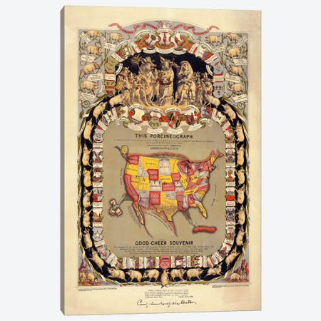 This Porcineograph, Pork in 1876 Canvas Print #PCA390} by Print Collection Canvas Print