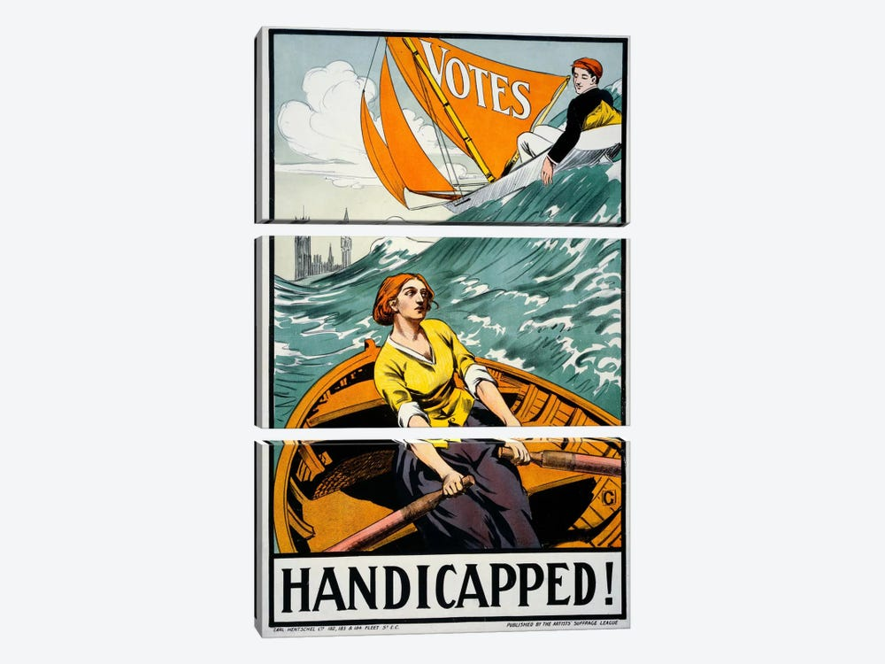 Women's Suffrage, Handicapped, London! by Print Collection 3-piece Canvas Wall Art