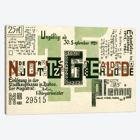 25 PF Notgeld, Itzehoe, Back Canvas Print #PCA400} by Print Collection Canvas Art Print
