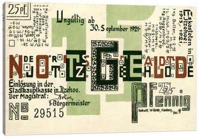 25 PF Notgeld, Itzehoe, Back Canvas Print #PCA400