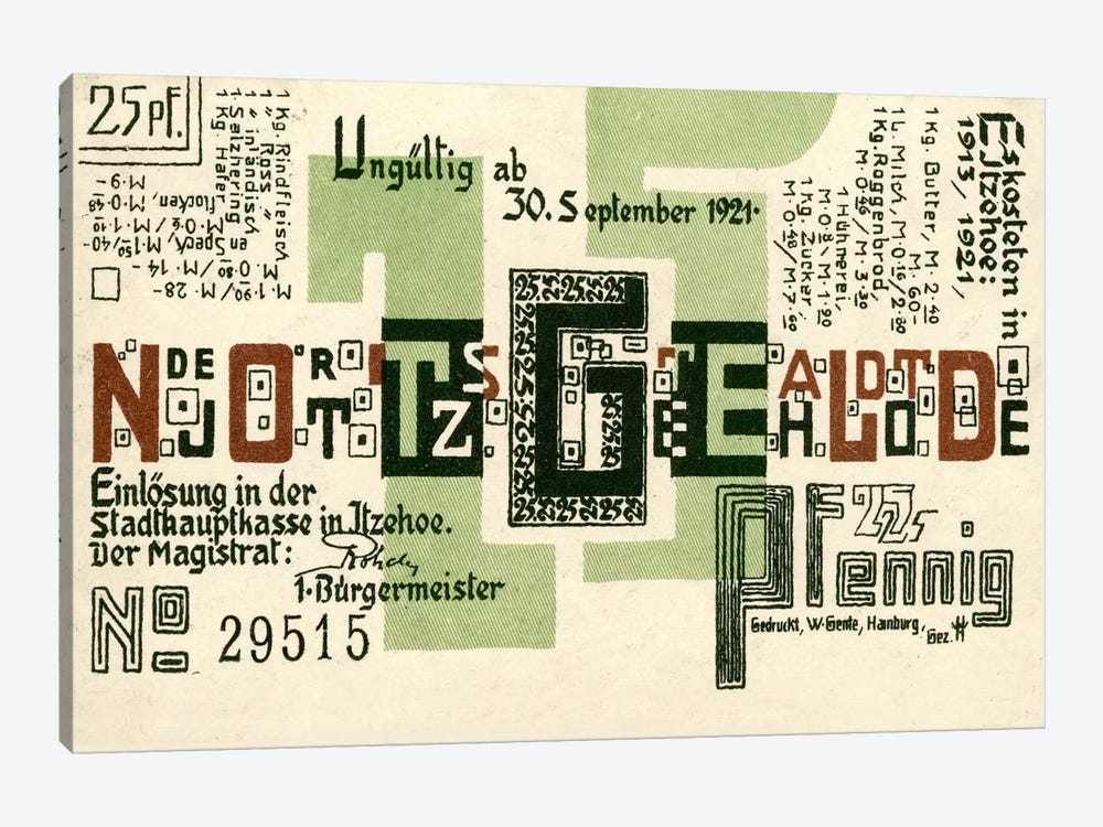 25 PF Notgeld, Itzehoe, Back by Print Collection 1-piece Canvas Artwork
