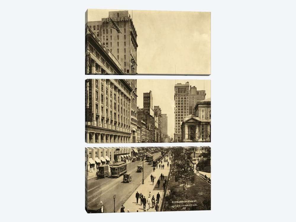 42nd Street East from 6th Avenue by Print Collection 3-piece Canvas Art Print
