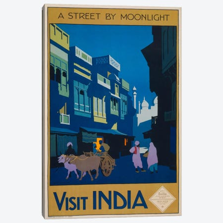 A Street by Moonlight - Visit India Canvas Print #PCA412} by Print Collection Canvas Art