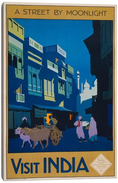 A Street by Moonlight - Visit India Canvas Art Print